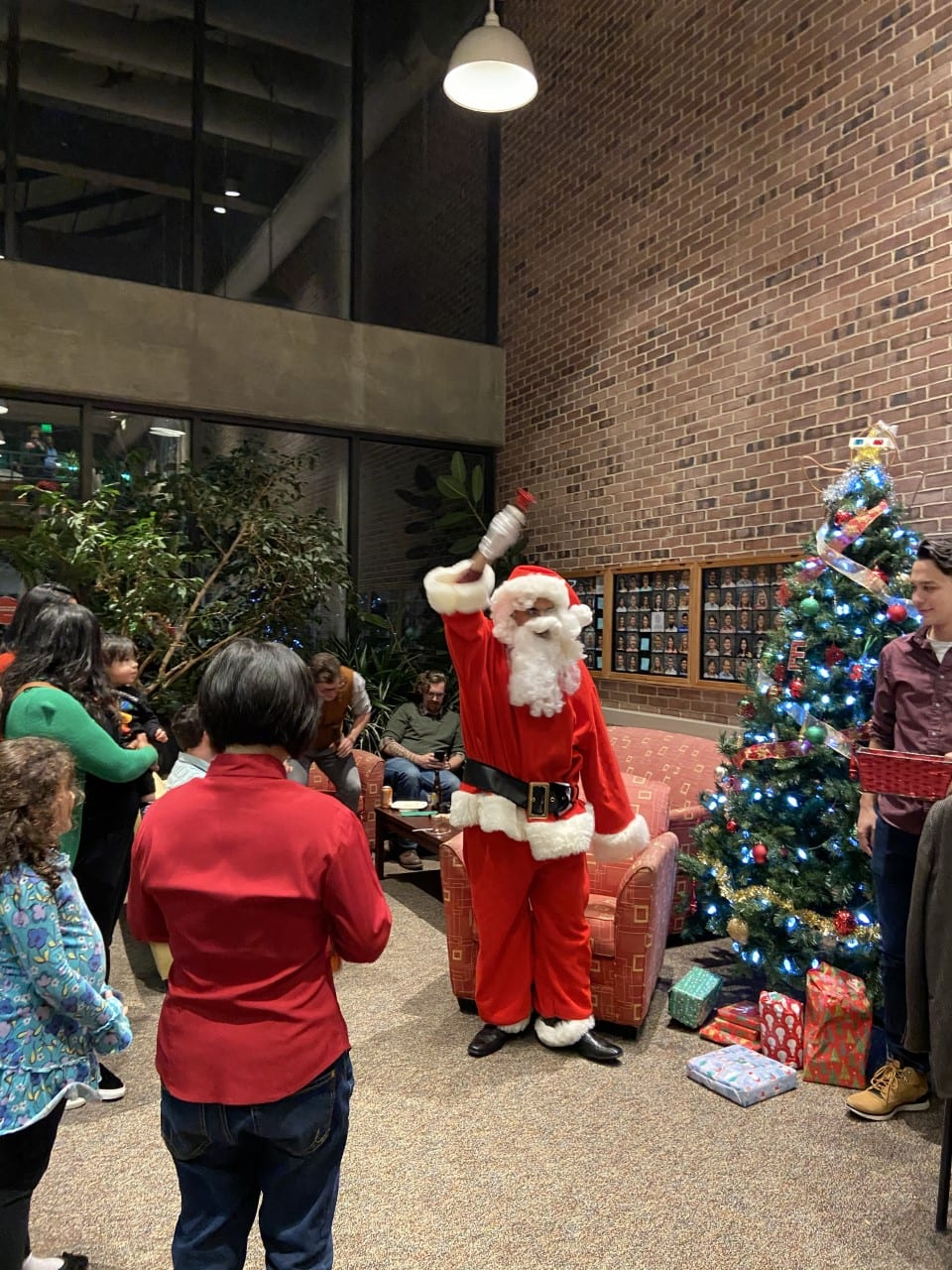 Santa Claus visits Olin Hall