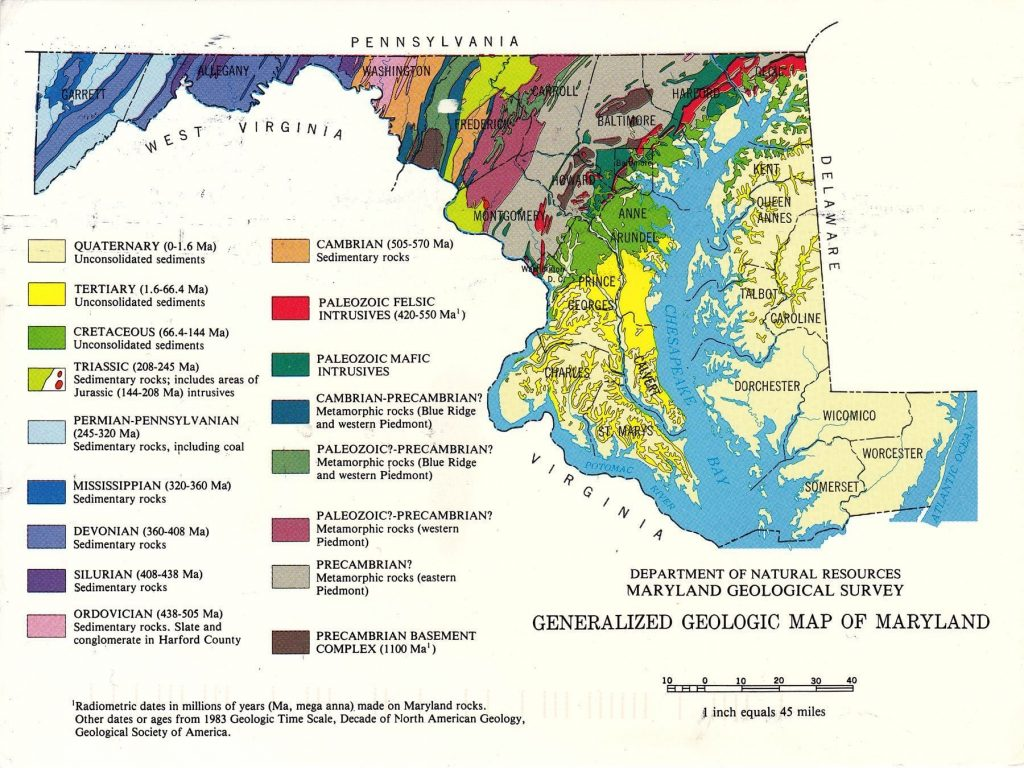 Geologic map of Maryland showing where different types of rocks and geologic features are located across the state
